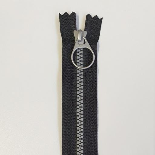 Cremallera Bi-Color 20cm Negro/Plata