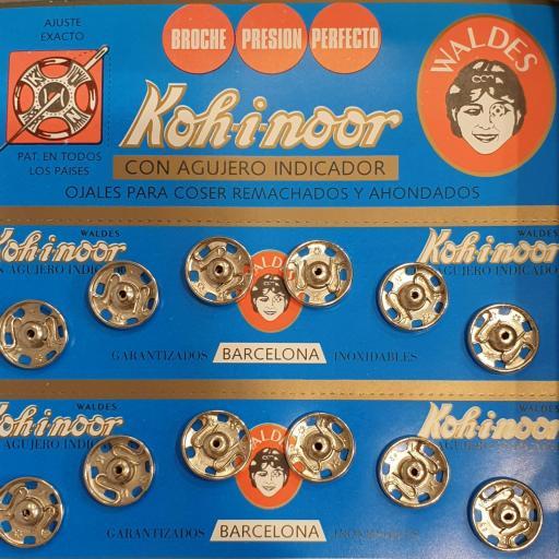 Broche metálico de presión plata 13mm - 6 unidades