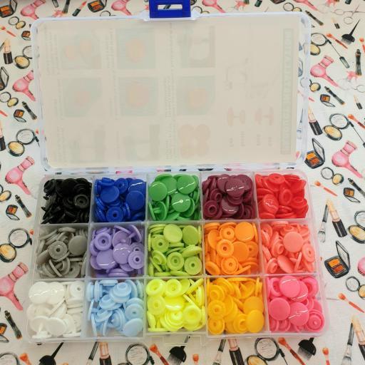 Estuche de 150 snaps colores variados