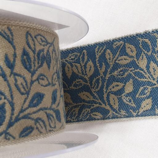 Cinta loneta cubrecosturas - Herbs on blue