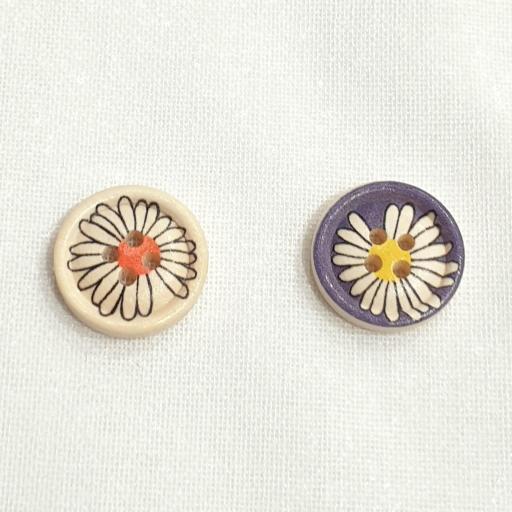 Botón Madera Floral