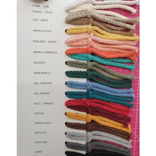Cordón Algodón a metros - 4,5mm - Colores