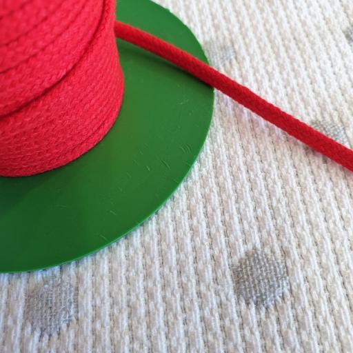 Cordón Algodón semi-plano 3mm Rojo