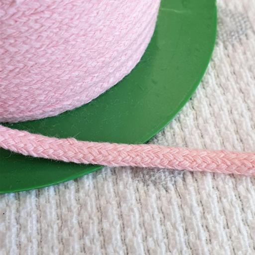 Cordón Algodón semi-plano 3mm Rosa Bebe