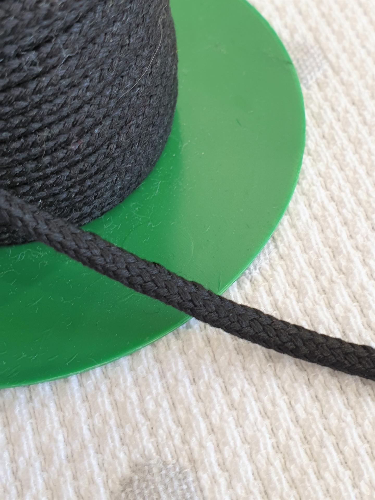 Cordón Algodón semi-plano 3mm Negro