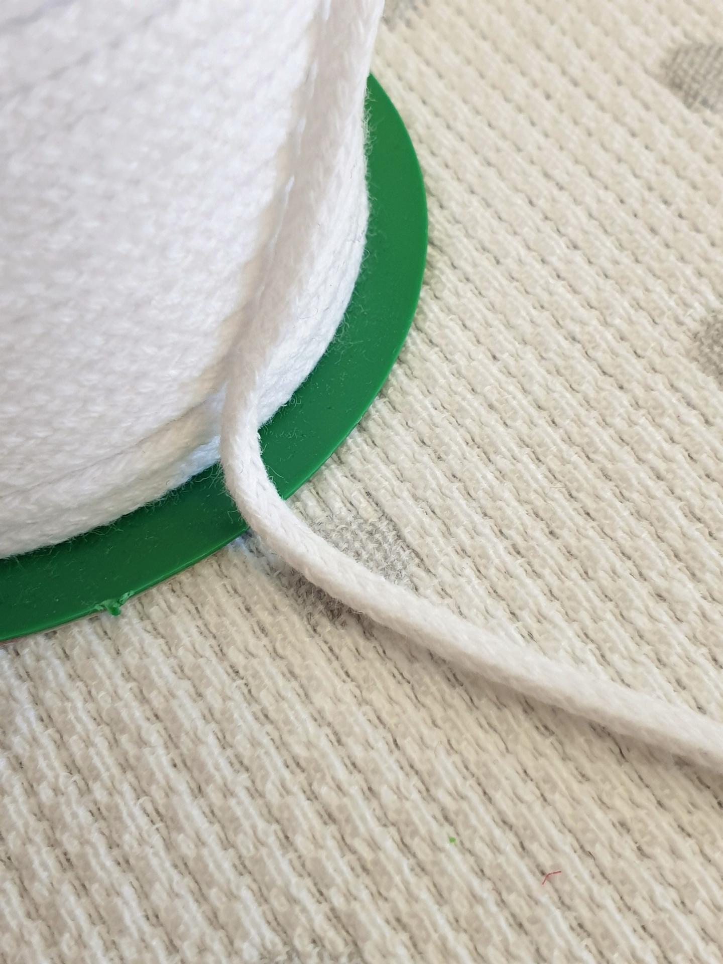 Cordón Algodón semi-plano 3mm Blanco