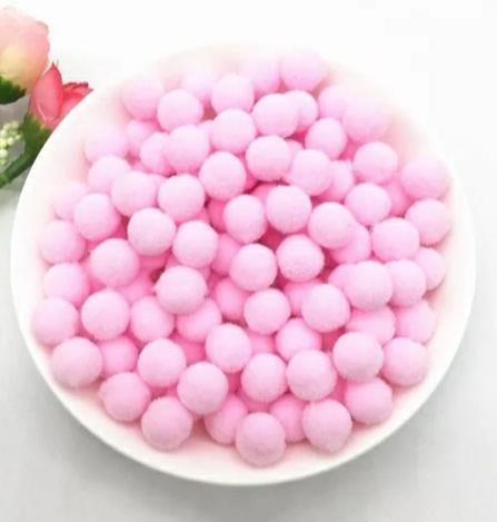 Pompones Felpa 20mm Color Rosa
