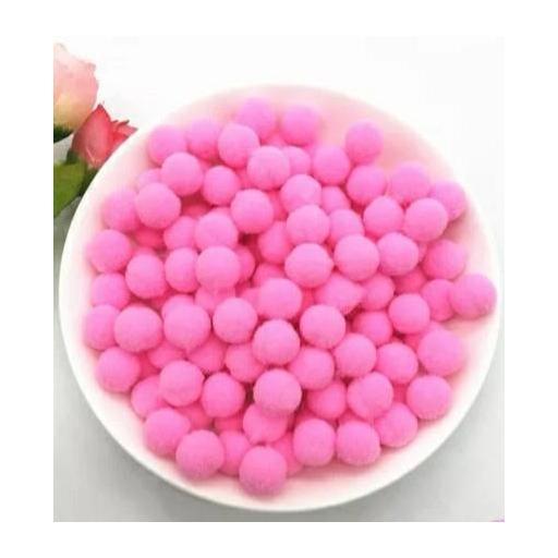 Pompones Felpa 20mm Color Rosa Fuerte