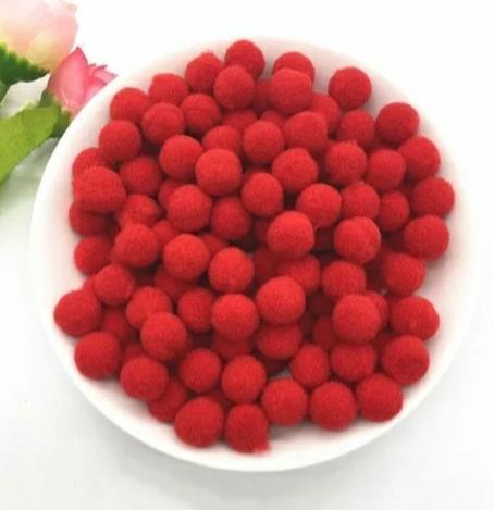 Pompones Felpa 20mm Color Rojo