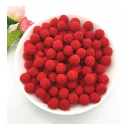 Pompones Felpa 20mm Color Rojo [0]