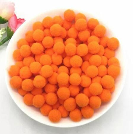 Pompones Felpa 20mm Color Naranja