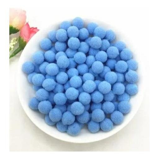 Pompones Felpa 20mm Color Azul Agua