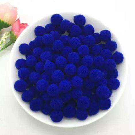 Pompones Felpa 20mm Color Azul Fuerte