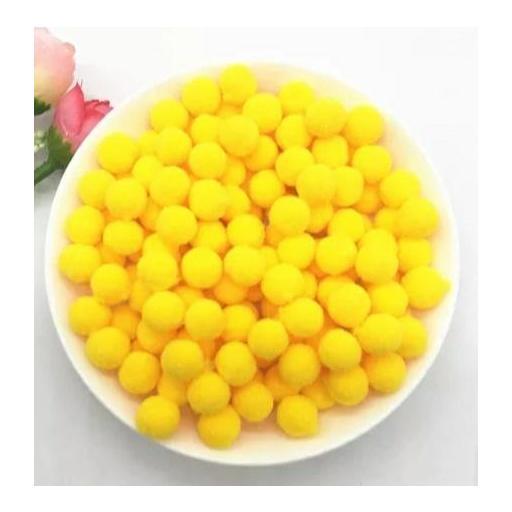 Pompones Felpa 20mm Color Amarillo