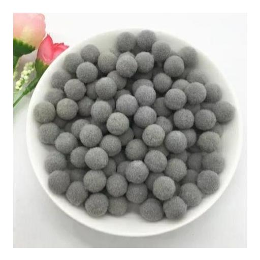Pompones Felpa 20mm Color Gris