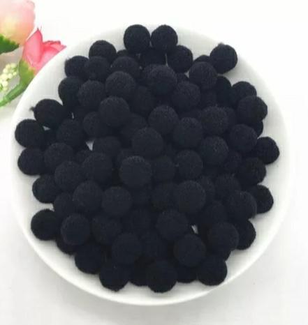 Pompones Felpa 20mm Color Negro