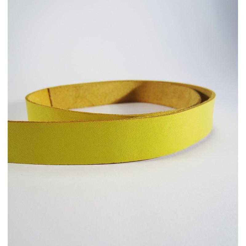 Tira de cuero natural curtido vegetal - Amarillo