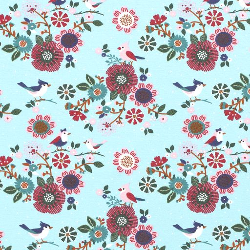 French Terry - Floral Birds Mint