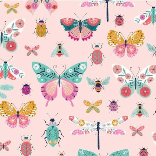 Beetles and Butterflies on Pink - Cotton Premium