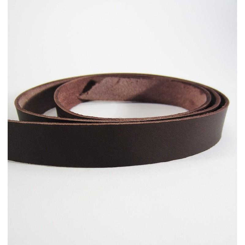 Tira de cuero natural curtido vegetal - Marron Oscuro