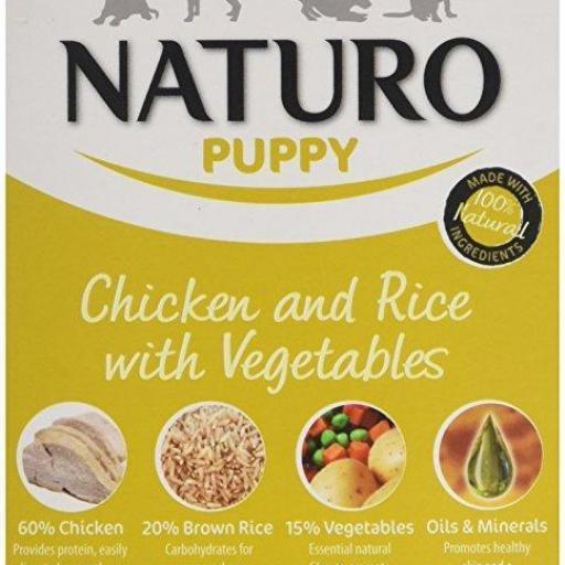 Tarrina para cachorros de pollo+arroz,Naturo