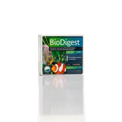 BIO DIGEST LIMPIADOR BIOLOGICO - Bacterias Desnitrificante para acuarios 12 ampollas