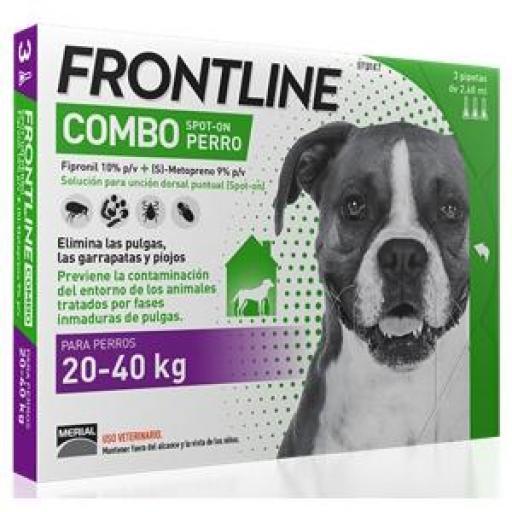 FRONTLINE COMBO PARA PERRO DE 20-40kg 3 PIPETAS
