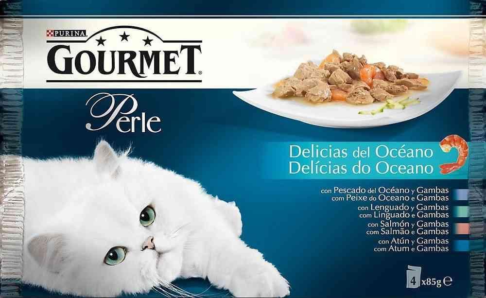 GOURMET PERLE Delicias del Océano con Pescado del Océano, con Lenguado, con Salmon, con Atún (4x85g)