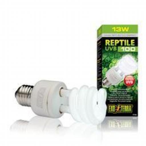 Bombilla UVB 100, Lámpara Para Terrario Tropical, Exo Terra