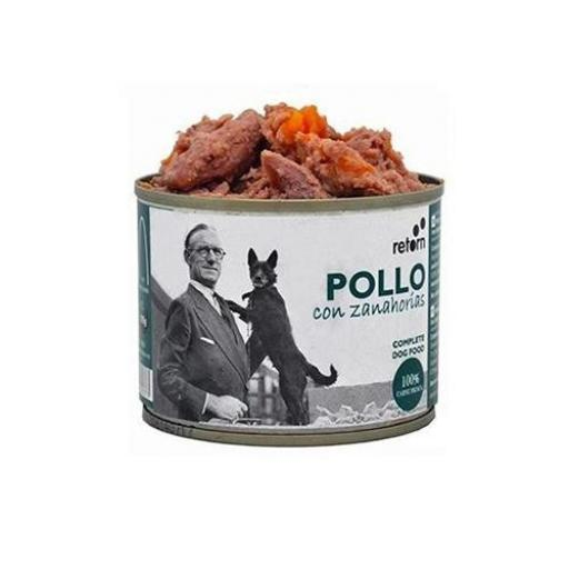 Lata para perro de pollo+zanahoria, Retorn