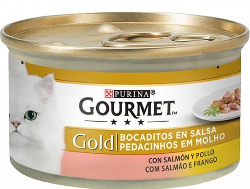 GOURMET GOLD Bocaditos en Salsa con Salmon/Pollo
