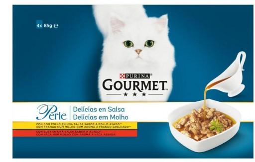 GOURMET PERLE Delicias en Salsa Pollo, Buey (4x85g)  NUEVO [0]