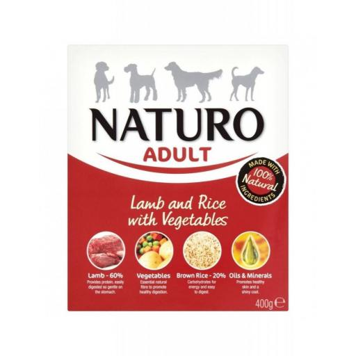 Tarrina para perro de cordero+arroz, Naturo