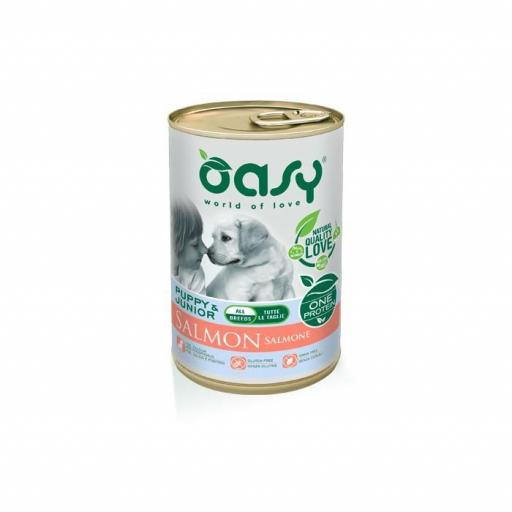 Lata para perro cachorro de salmón, Oasy
