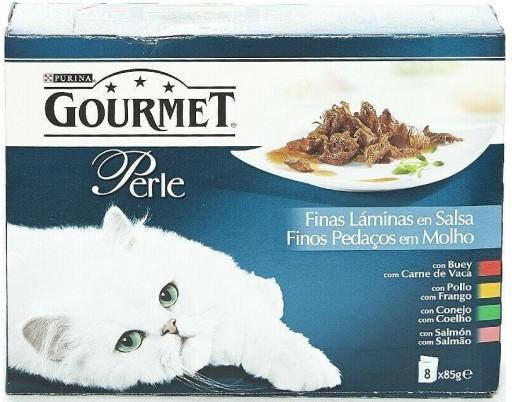 GOURMET PERLE Finas Laminas en Salsa con Buey, con Pollo, con Conejo, con Salmon (4x85g)