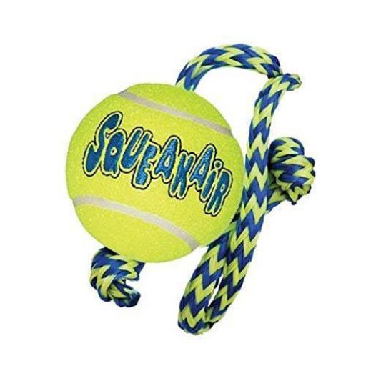 Air Kong Squeaker Tennis Ball Con Cuerda, Kong