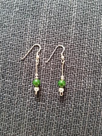 Pendientes  de plata y jade