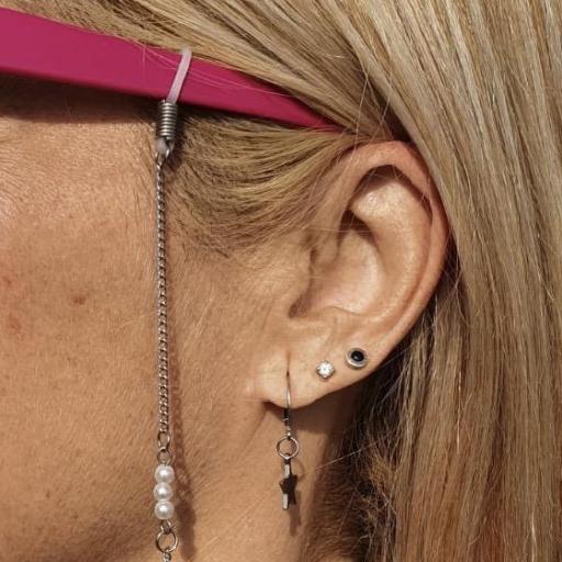 Cadena gafas de acero y perlas blancas [3]