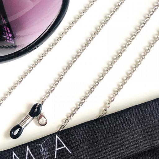 Cuelga gafas y mascarilla cadena plateada [0]