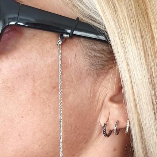 Cuelga gafas y mascarilla cadena plateada [1]