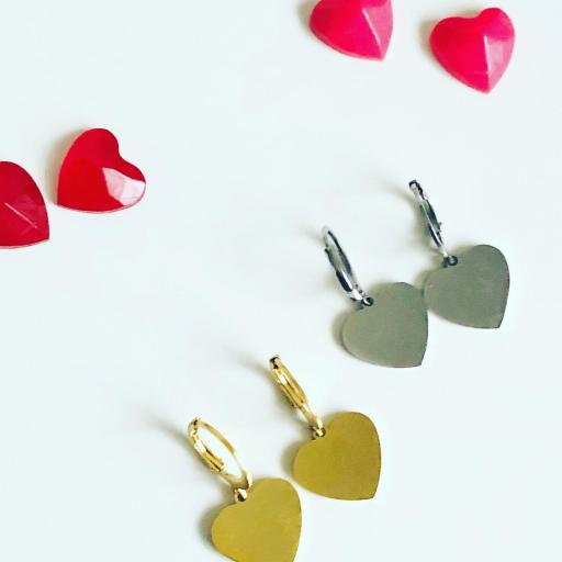 Pendientes criolla con corazón dorado [3]
