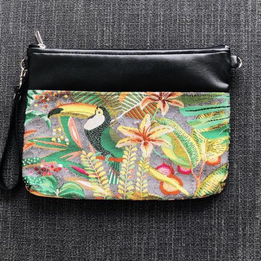 Bolso de mano o bandolera tropical verde con tucán2