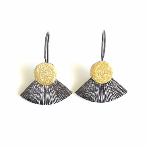 Pendientes de diseño texturados plata y oro