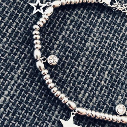 Pulsera de acero  plateado con estrellas y cristales [2]