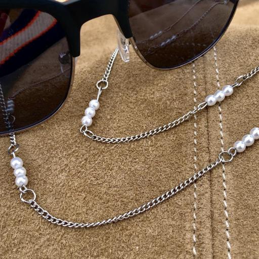Cadena gafas de acero y perlas blancas