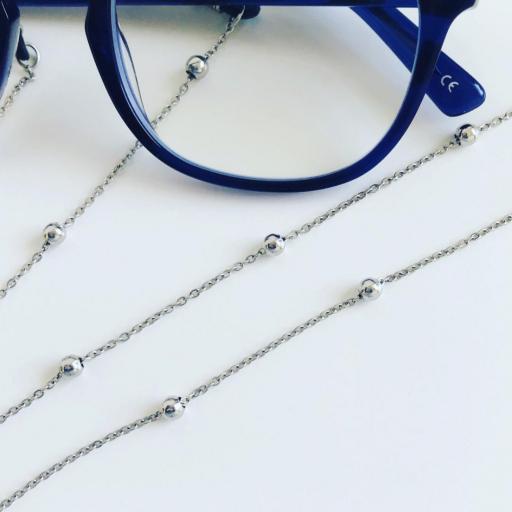 Cadena gafas de acero con bolitas