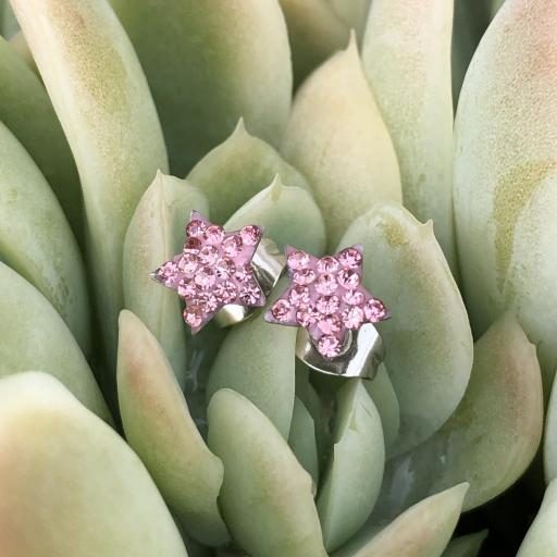 Pendientes  estrella  con cristales rosas [3]