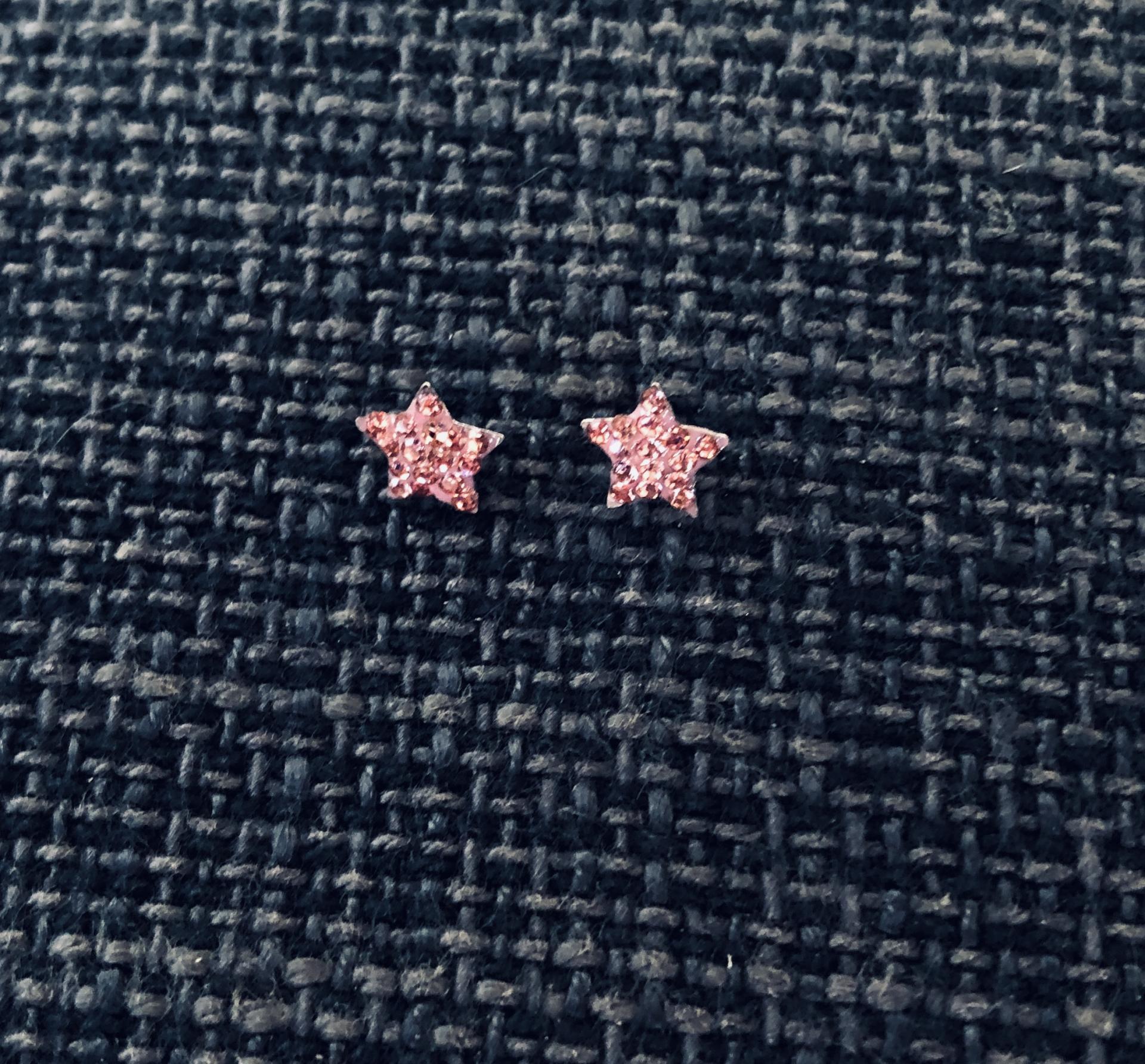 Pendientes  estrella  con cristales rosas