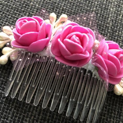 Peineta con flores color rosa [2]