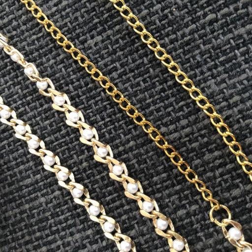 Cadena para gafas con perlitas en color oro  [1]